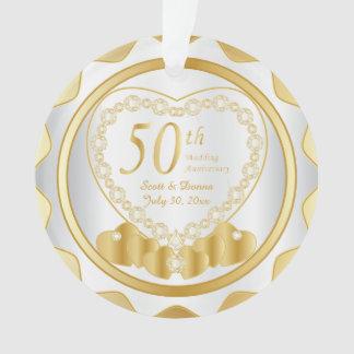 Ornamento 50th Aniversário de casamento dourado 2