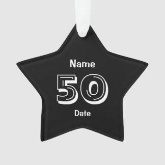 Ornamento 50th branco personalizado do preto do presente da