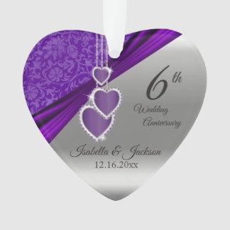 Ornamento 6o Aniversário de casamento Amethyst