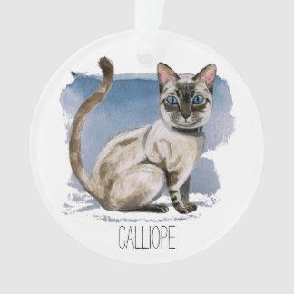 Ornamento A aguarela Siamese do gatinho que pinta | adiciona