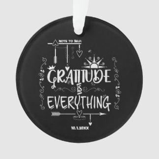Ornamento A gratitude do quadro é tudo nota ao auto