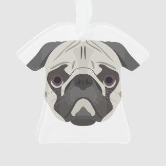 Ornamento A ilustração persegue o Pug da cara