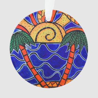 Ornamento A praia azul das palmeiras do por do sol do oceano