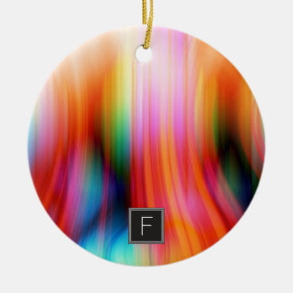 Ornamento abstrato listado colorido do monograma |
