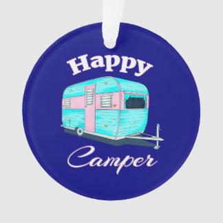 Ornamento Acampamento do reboque de campista feliz