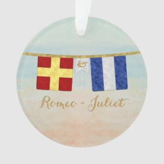 Ornamento Aguarela marítima das bandeiras de sinal do