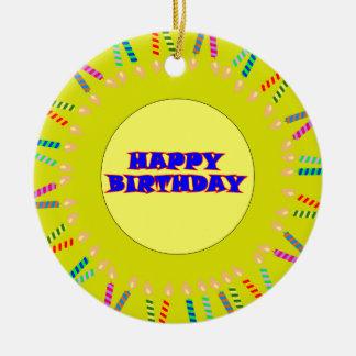 Ornamento amarelo do aniversário