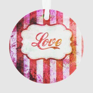 Ornamento Amor cor-de-rosa com listras