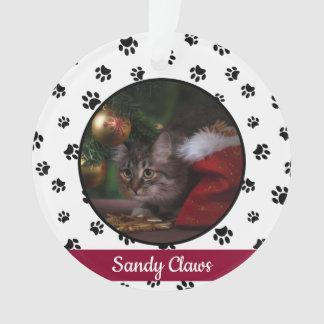 Ornamento Ano bonito do nome da foto do gato com impressões