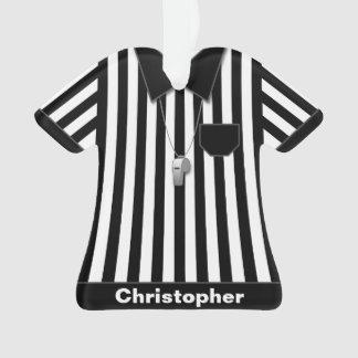 Ornamento Árbitro preto & uniforme listrado branco