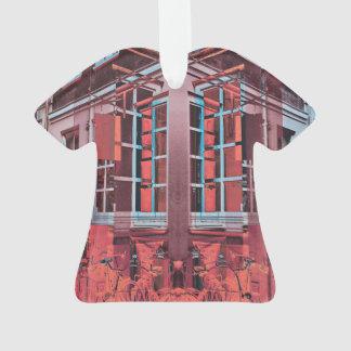 Ornamento Arte digital da reflexão azul vermelha das janelas