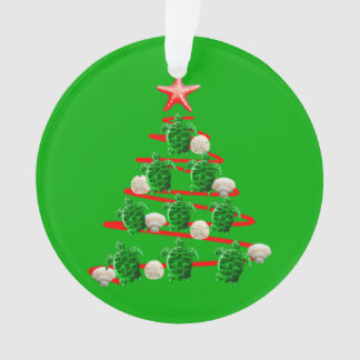 Ornamento Árvore de Natal das tartarugas de mar verde