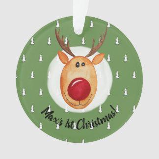 Ornamento Árvore de Rudolph do Natal do bebé primeira com