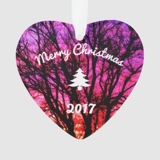 Ornamento Árvore do por do sol do inverno - árvore de Natal
