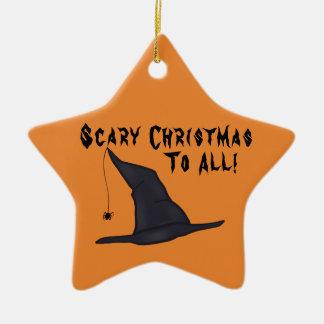 Ornamento assustador do chapéu da bruxa do Natal