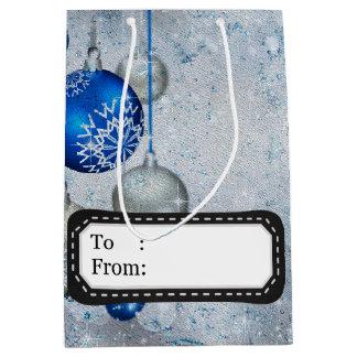 Ornamento azuis de prata sacola para presentes média