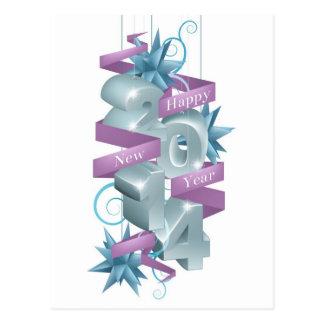 Ornamento azuis do feliz ano novo 2014 cartões postais
