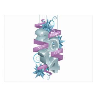 Ornamento azuis do feliz ano novo 2014 cartao postal