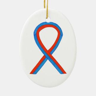 Ornamento azuis e vermelhos do costume da fita da