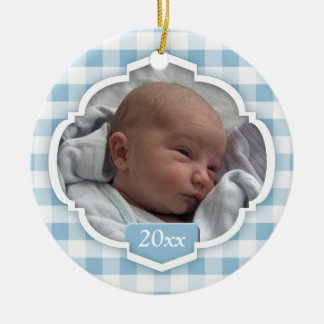 Ornamento azul da foto do guingão do ø Natal do