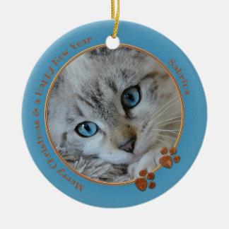Ornamento azul da foto do Natal da lembrança do