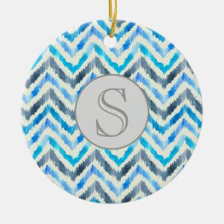 Ornamento azul e branco do monograma de Chevron