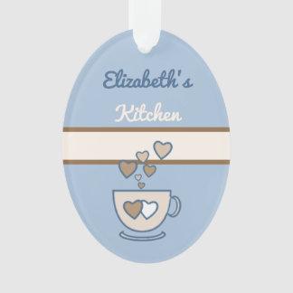 Ornamento Azul personalizado das citações do café da cozinha
