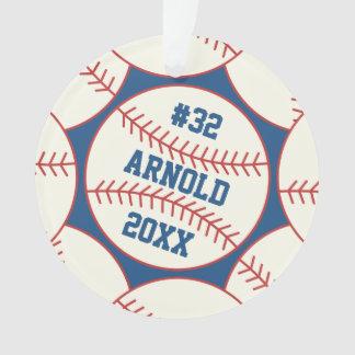 Ornamento Azul personalizado do teste padrão do basebol