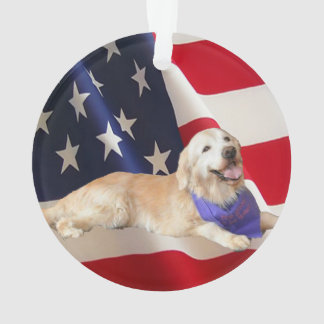 Ornamento Bandeira americana Sassy do golden retriever