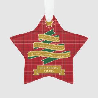 Ornamento Bandeira vermelha do costume da estrela da xadrez