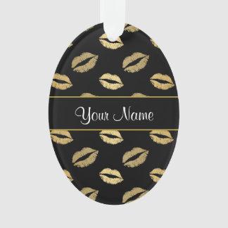 Ornamento Beijos do preto e do ouro