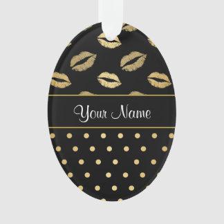 Ornamento Beijos do preto e do ouro e corações do amor