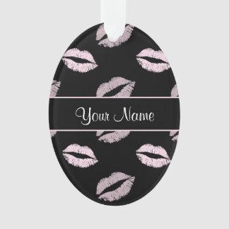 Ornamento Beijos do preto e do rosa