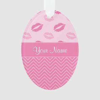 Ornamento Beijos e ziguezagues rosa e branco