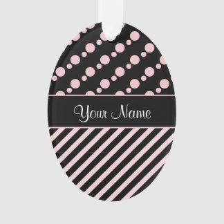 Ornamento Bolinhas e listras cor-de-rosa no fundo preto