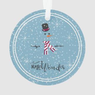 Ornamento Boneco de neve ID440 azul do Natal da mágica e da