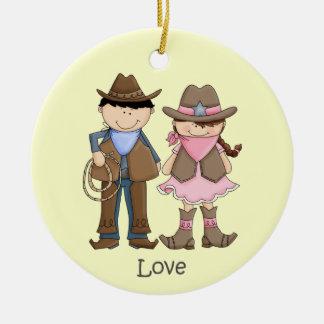Ornamento bonito do amor da vaqueira e do vaqueiro