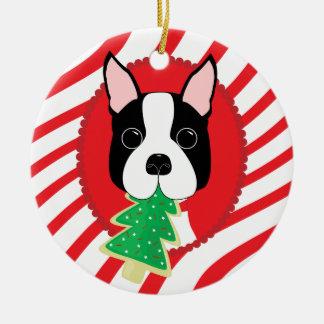 Ornamento bonito do cão de Boston Terrier
