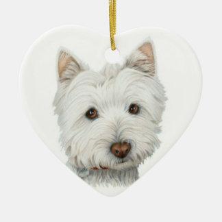 Ornamento bonito do coração do cão de Westie