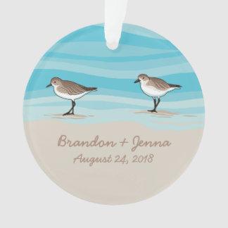 Ornamento Borrelhos em nomes da data do casamento de praia