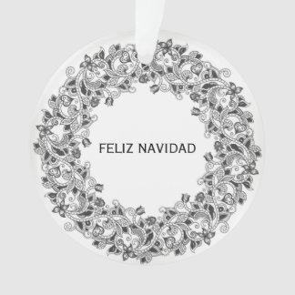 Ornamento branco da neve de Feliz Navidad com
