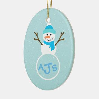 Ornamento branco do boneco de neve do monograma do