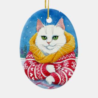 Ornamento branco do gato do Natal