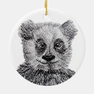 Ornamento branco preto do círculo da panda do