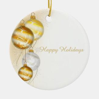 Ornamento brancos da bola do ouro do Natal