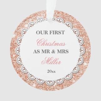 Ornamento Brilho cor-de-rosa Wedding do ouro dos primeiros