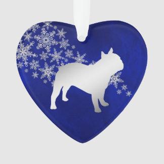 Ornamento Buldogue francês do floco de neve de prata azul