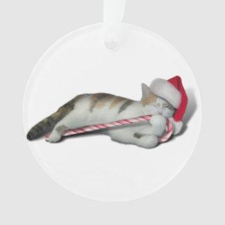 Ornamento Cali, o gatinho do bastão de doces do Natal