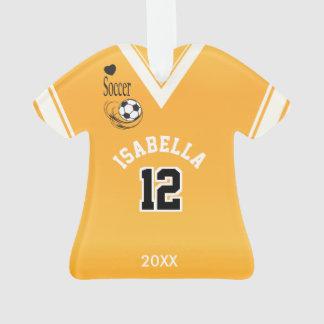 Ornamento Camisa amarela dourada do futebol
