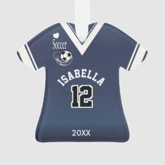 Ornamento Camisa azul escuro do futebol